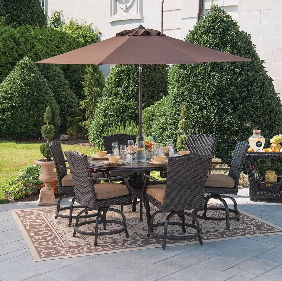 7pc Outdoor Wicker Dining Set Balcony Height Bar Table Swivel