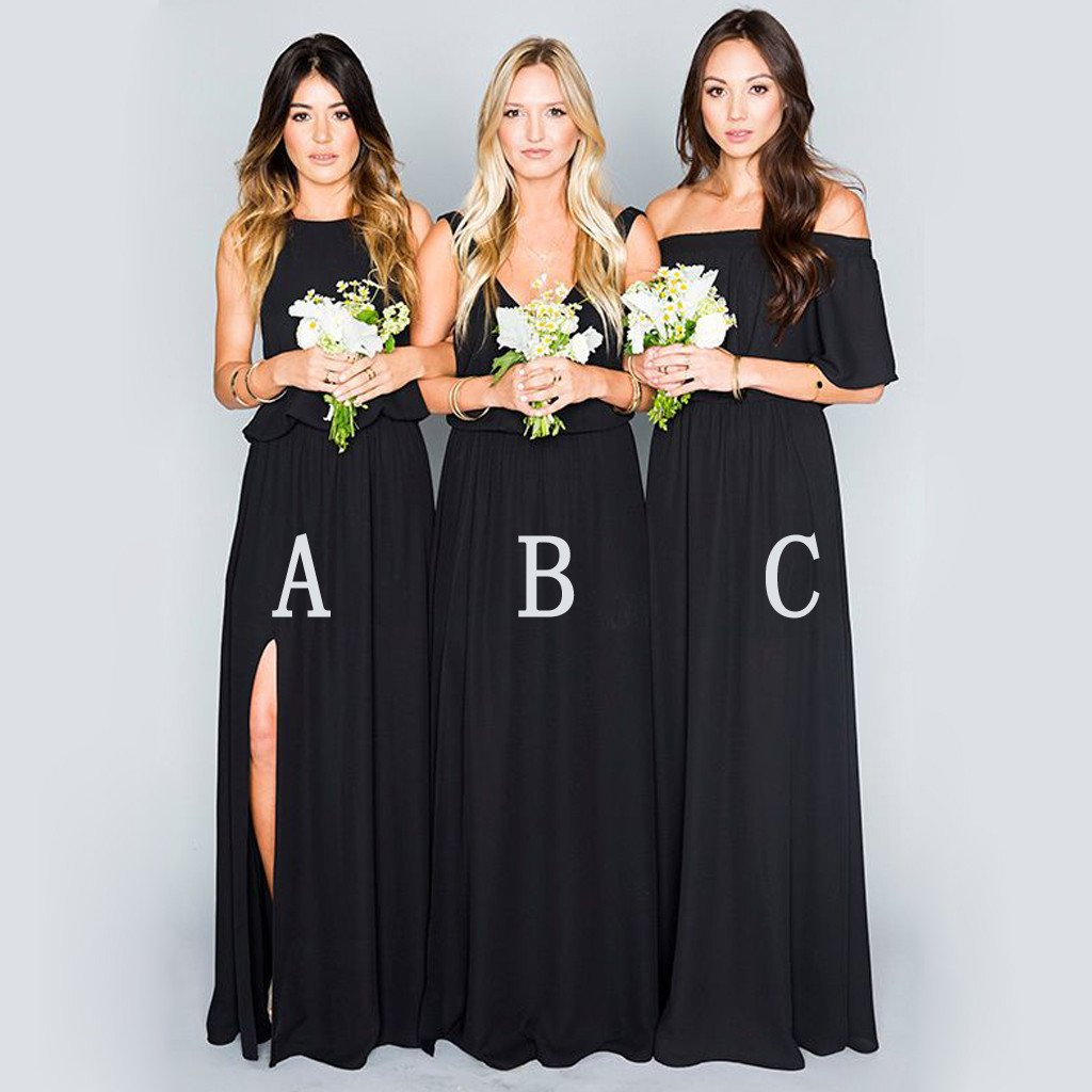 Black Chiffon Mismatched Eleagnt Long Wedding