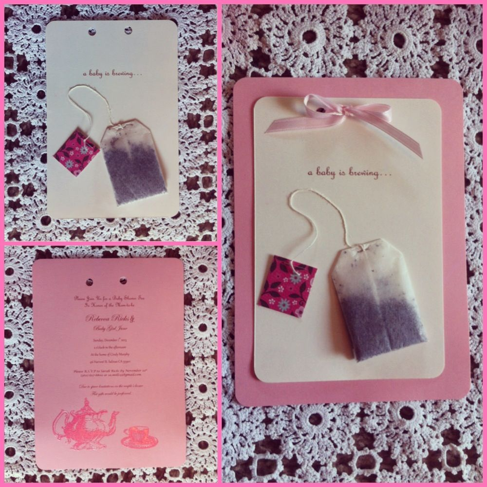 The handmade invitations I did for the Tea Party baby shower ...