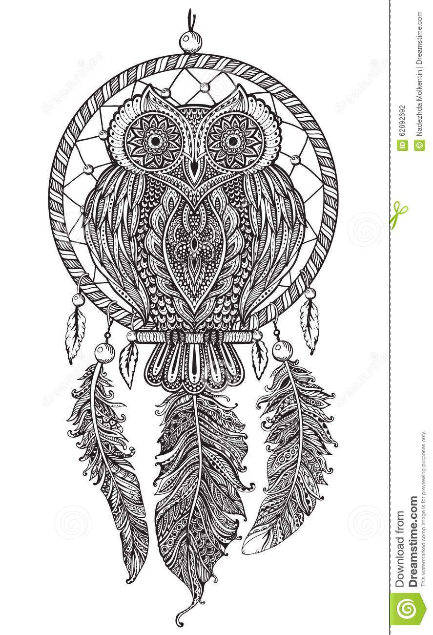 Vector Hand Drawn Detailed Ornate Owl With Dream Catcher Stock Vector Image 62892692 Dream Catcher Coloring Pages Dream Catcher How To Draw Hands