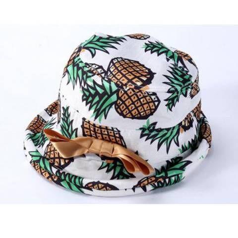 765d68388b6 Fruit pineapple bucket hat for teenage girls bow sun hats ...