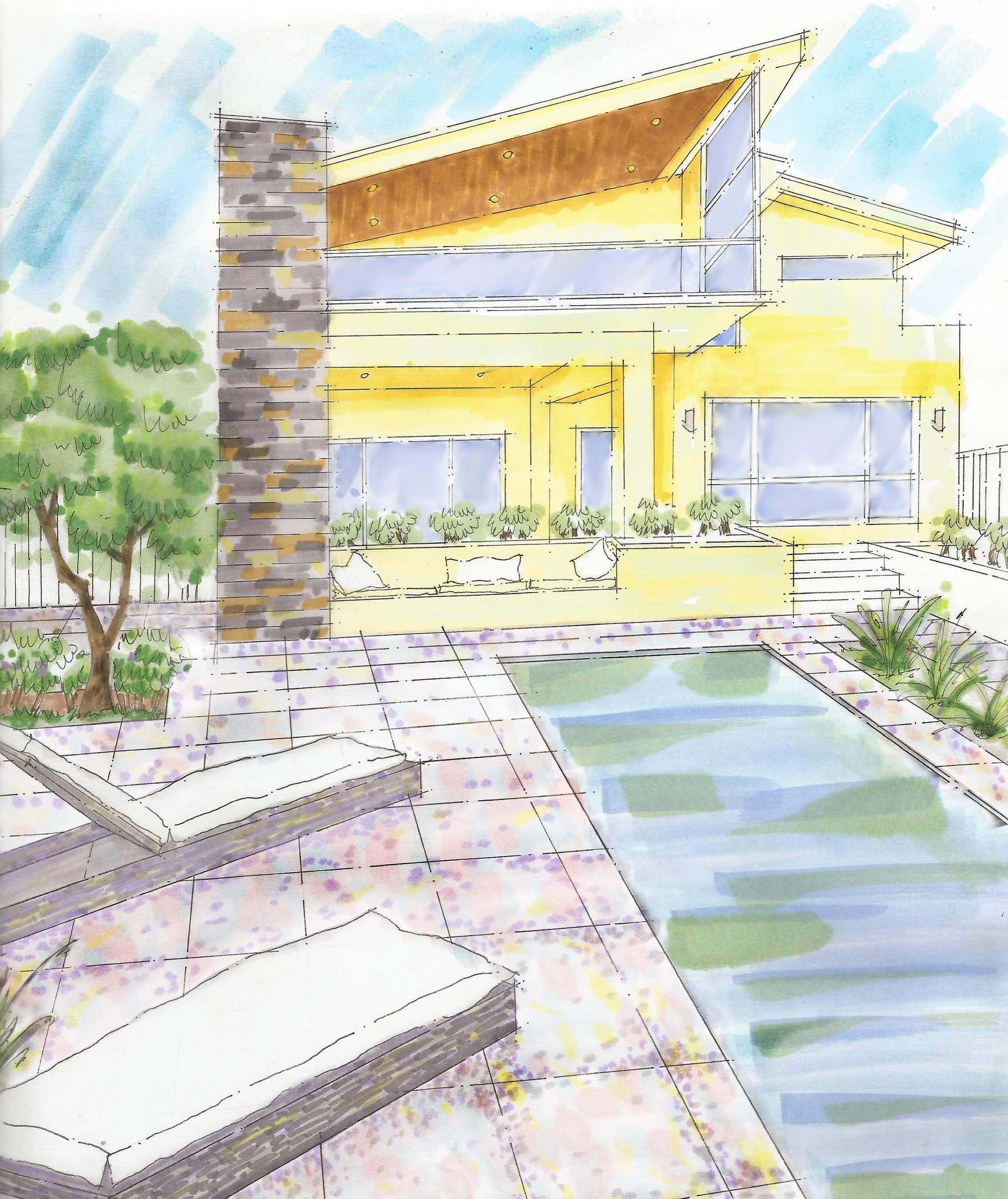 Architectural Rendering By B Campbell. This Building Presentation In  Prismacolor Marker Shows The Open Design · Modern MaterialsArchitectural ...