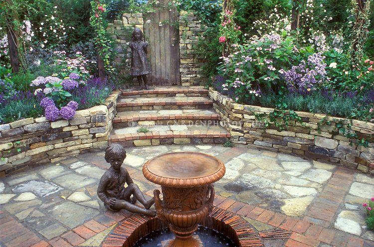 English Secret Garden Outdoor Room Sunken Stone Patio