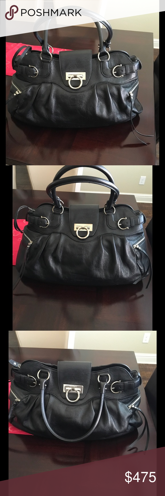 5fcde49196 Salvatore Ferragamo Marisa Shoulder Bag This beautiful bag is in soft  leather and in black