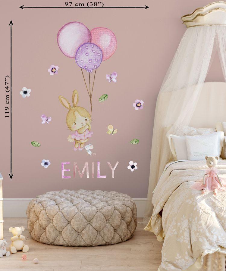 Bunny Wall Decal Girl Nursery Wall Sticker Baby Girl Wall Sticker