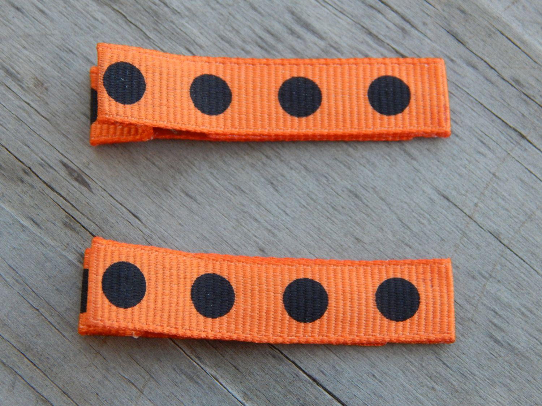 Black and Orange Polka Dot Ribbon Hair Clips - Black and Orange Polka Dot Hair Clips - Orange Ribbon Hair Clip - Toddler Hair Clip by Sapphire107 on Etsy