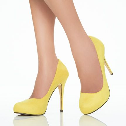 yellow pumps, height is perfect for people not used to ...