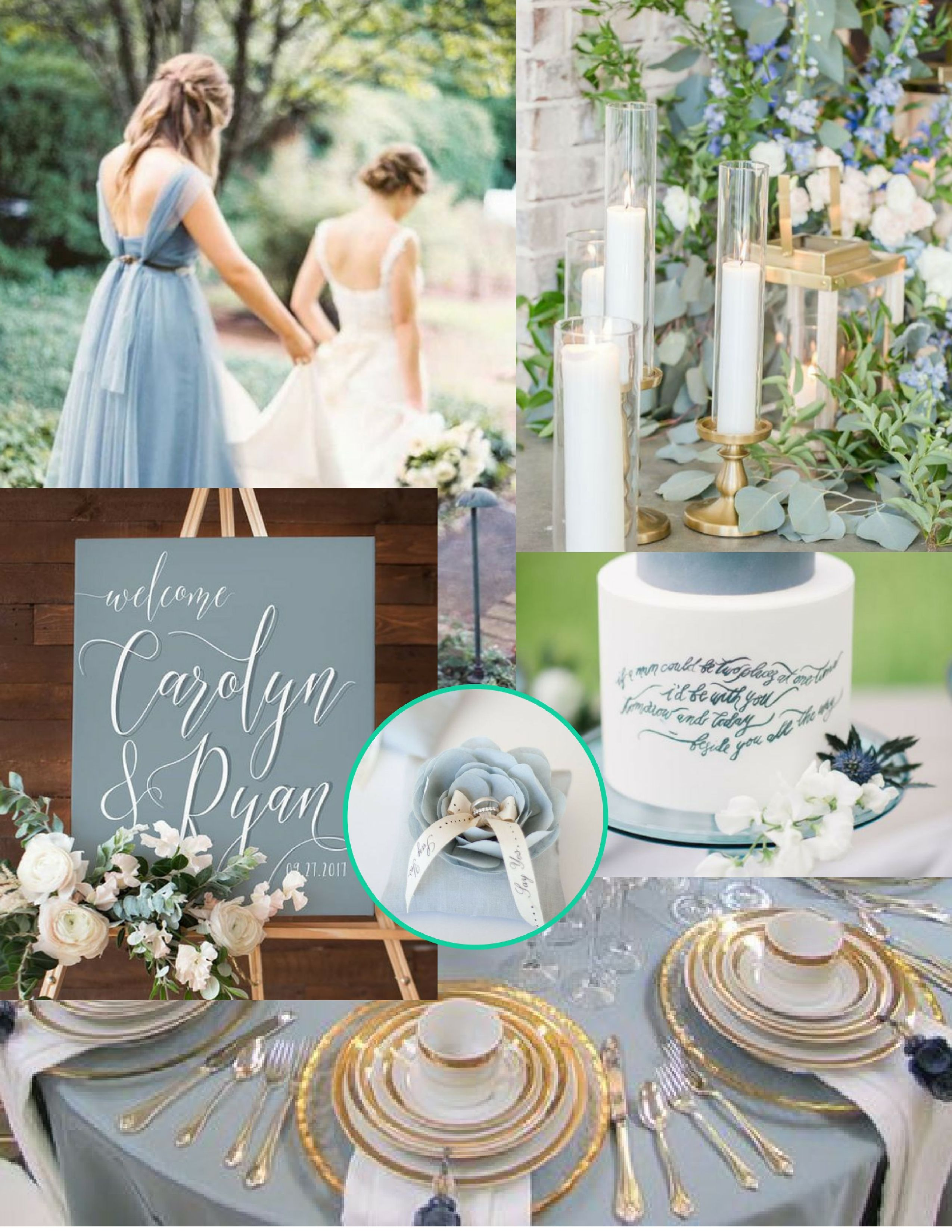 Dusty Blue Wedding Vision Board J Aime Events Olive Tree