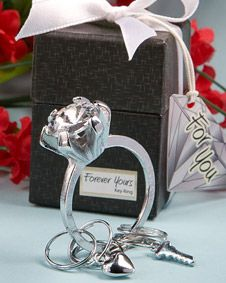 Forever  Yours Collection diamond ring design key ring favors #Keychains #wedding #favor #bridal