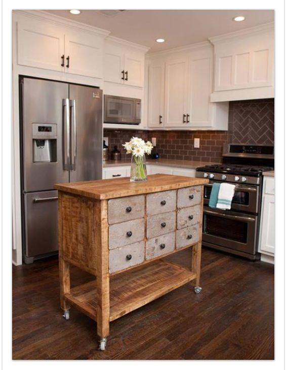 I love this mobile island! I would keep the drawers distressed but ...