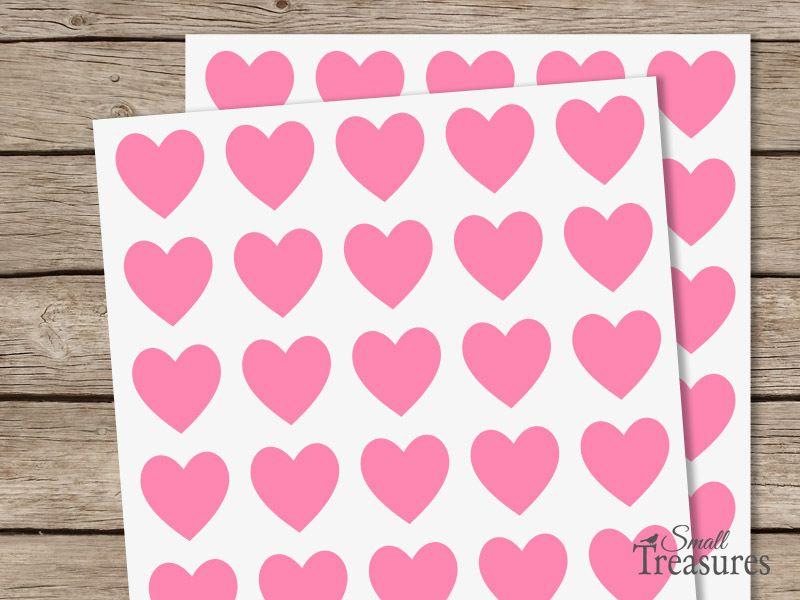 Aufkleber Herz, rosa, 40 Stk. von Small Treasures auf DaWanda.com