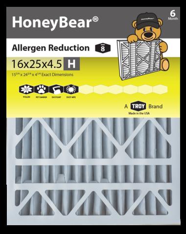 """16x25x4.5 """"H"""" HoneyBear® MERV 8 Allergen Reduction Air"""