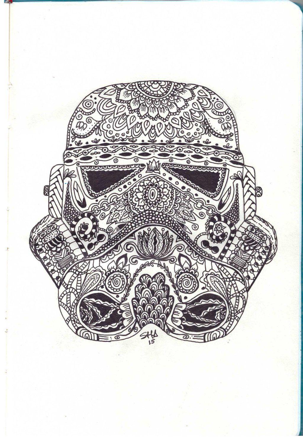 Stormtroopers Helmet Zentangle Star Wars Tattoo Stormtrooper Art Star Wars Art