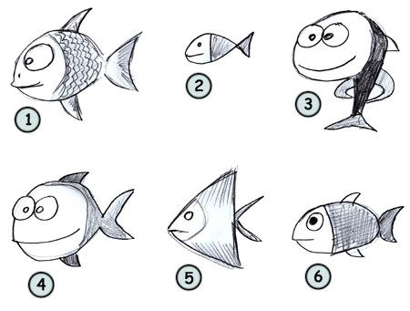 How To Draw Funny Fish Go Back To How To Draw Cartoon Animals From The Farm