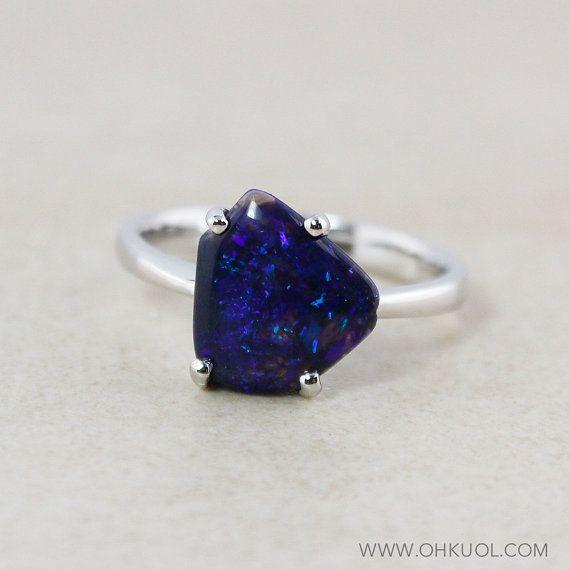 Dark Blue Australian Opal Rings  Free Form Opals  Choose by OhKuol