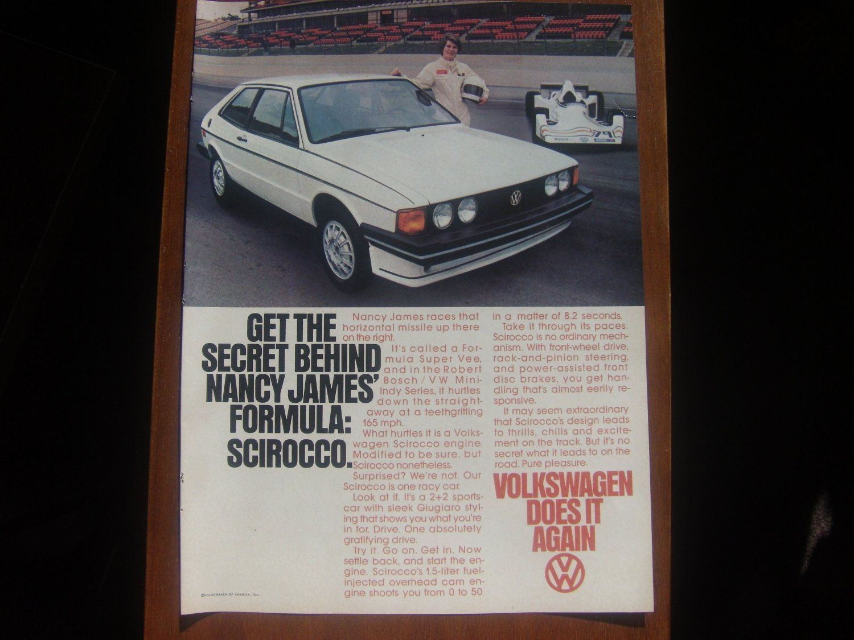 1978 Vw Volkswagen Scirocco Nancy James Race Print Ad Stuff To Buy