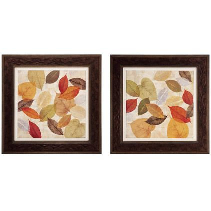 Gold Leaves I & II - Pair -  Inspired by nature in her paintings, Cynthia Coulter delicately renders Gold Leaves. Layered shades of gold, green, orange, and brown look like translucent leaves found pressed in a keepsake book. Simply framed as a set of two.