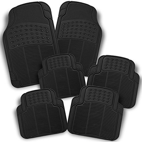 All Weather Heavy Duty Rubber Semi Pattern Black Car Front Rear Floor Mats 6 Pieces Set Liner Read More Reviews Rubber Floor Mats Car Front Car Floor Mats