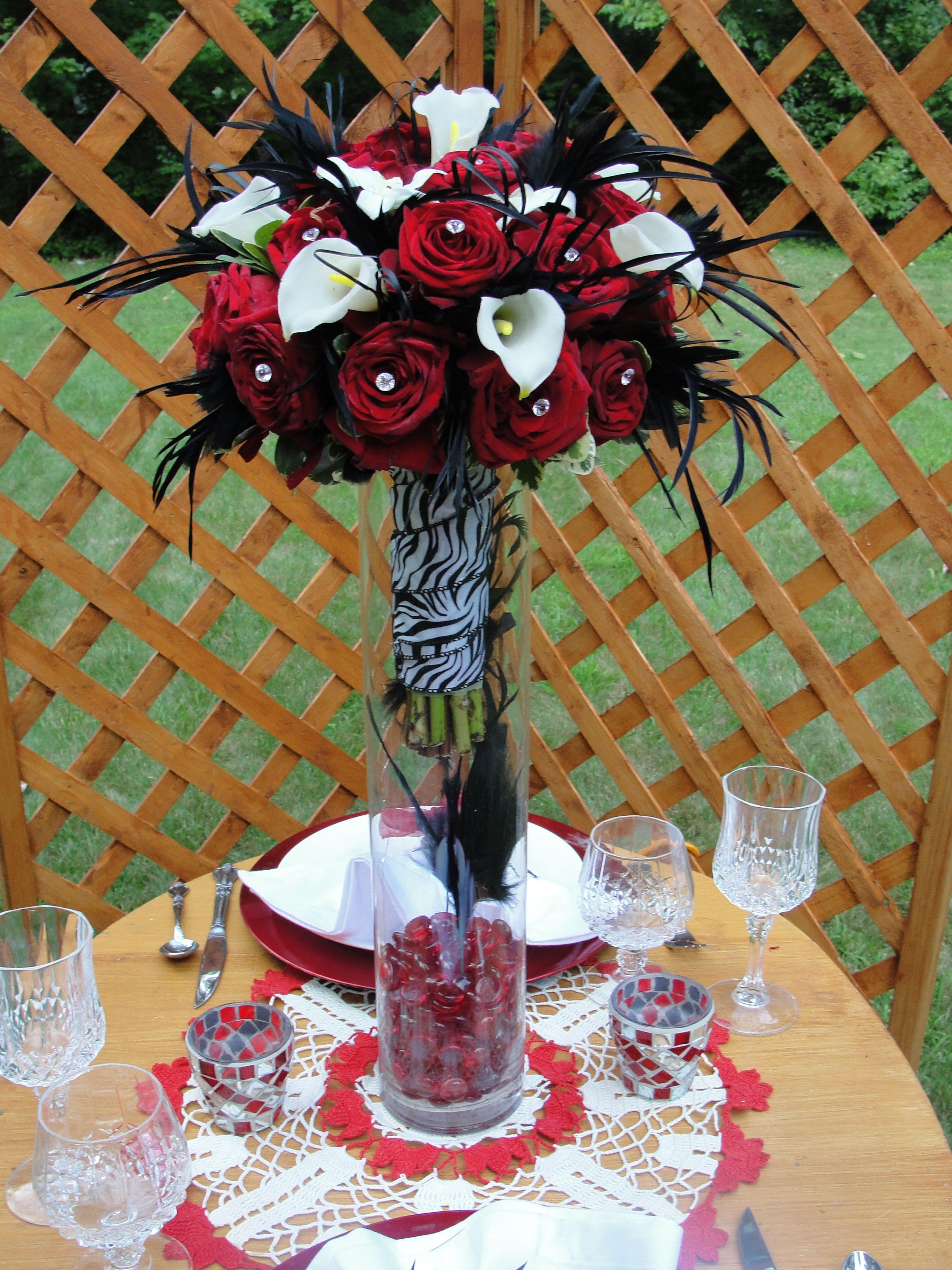 Wedding decorations red  Centerpiece for Red and Black Wedding goth wedding  Wedding