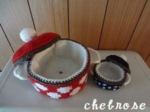 紺ドットのお鍋型小物入れ(S)の作り方|編み物|編み物・手芸・ソーイング