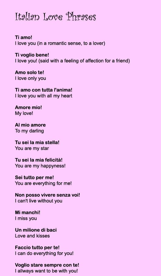 English In Italian: Italian Love Phrases