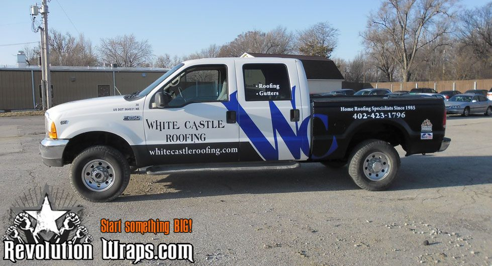 Partial Vehicle Wrap For White Castle Roofing Lincoln Ne