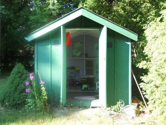 garden shed repurposed into a cool kid clubhouse