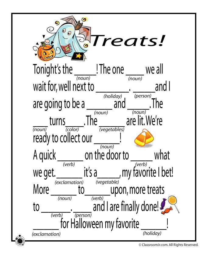 Printable Worksheets halloween homework worksheets : Halloween Mad Libs Halloween Mad Libs - Treats! – Classroom Jr ...