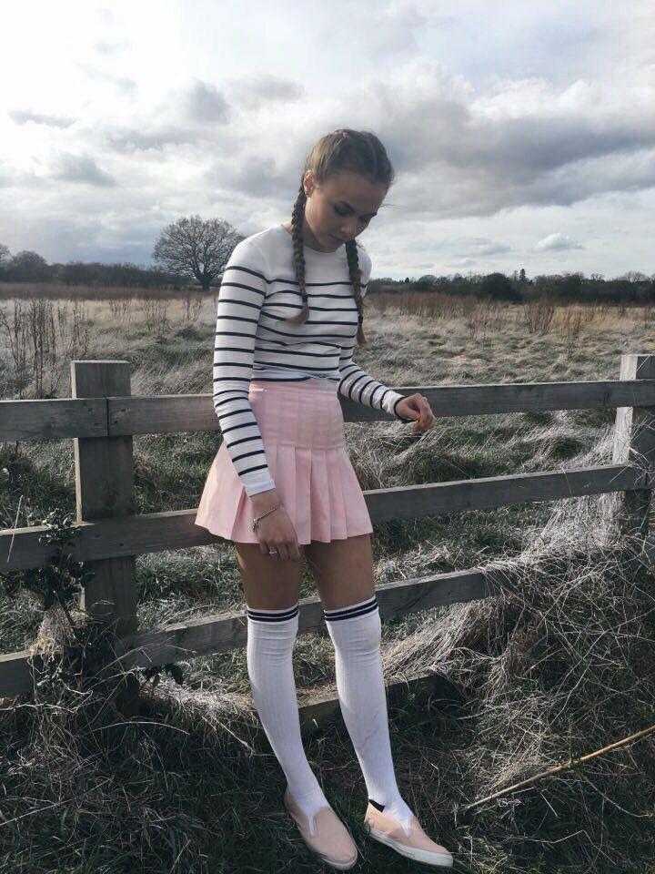 Tennis Skirt Pleated Skirt Knee High Socks Thigh High Socks Pink Omighty O Mighty Striped Knee High Socks Knee Socks Outfits Knee High Socks Outfit