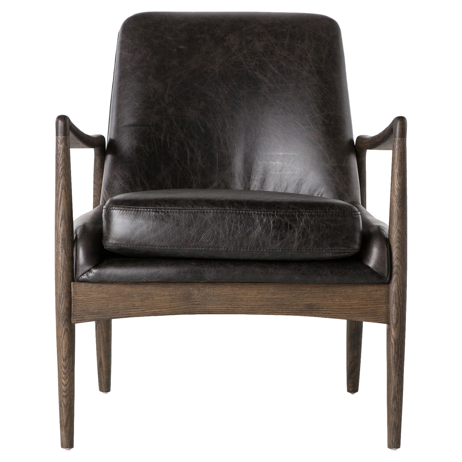 Olena Mid Century Black Leather Sculpted Cedar Arm Chair Leather Chair Black Leather Chair Mid Century Leather Chair