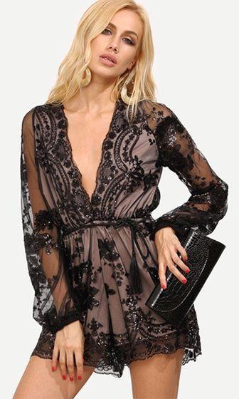 9aa2a3e7f4 Bedroom Eyes Black Beige Sheer Floral Lace Long Loose Sleeve Plunge V Neck  Tassel Sequin Romper Playsuit