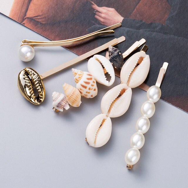 New Shell Imitation Pearl Starfish Hairpin Hair Accessories for Women Hair Clips