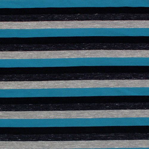 Tri Blend Stripe Teal Black Gray Cotton Jersey Blend Knit Fabric