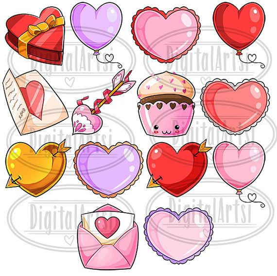 Kawaii Valentines Day Clipart Kawaii Download Instant Etsy Kawaii Valentine Valentines Day Clipart Valentines Day Drawing
