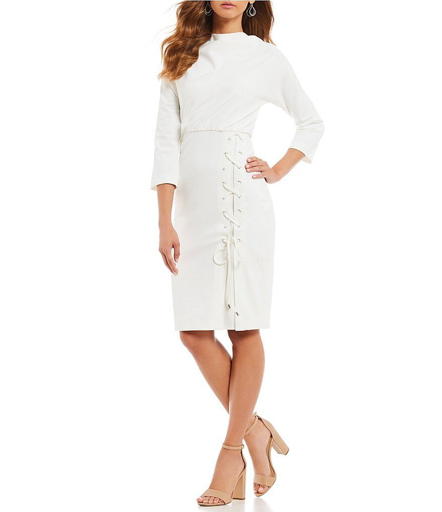 33ca74f32b5 Belle Badgley Mischka Lace-Up Dress