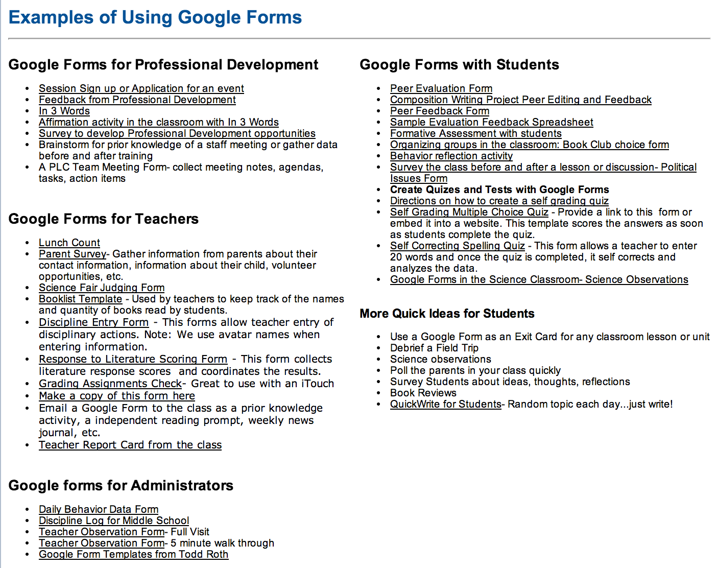 Tons Of Google Forms For Teachers Administrators And Students
