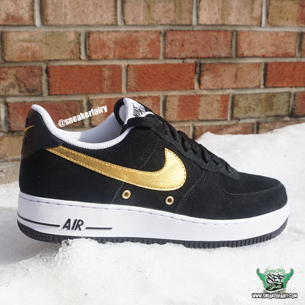 new concept 27bba ababc sneaker fairy fetti dbiasi custom sneakers nike air force one af1 black  suede gold royalty jordan 4 bhm black history month shoes
