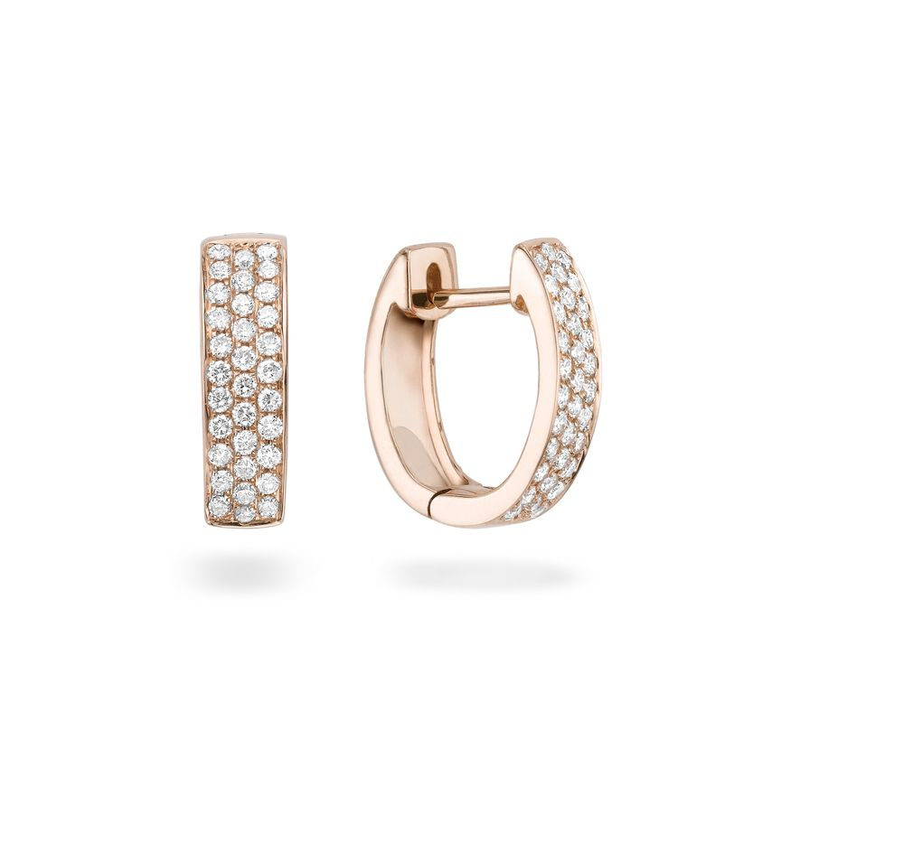The Apex cone's partner in crime - wide triple row pave set diamond hinged  hoop earrings in 18 carat rose gold  Approx. 0.53ct diamonds Approx. 15mm base to tip Approx. 6mm wide Hinge and post fitting  Please contact Georgina directly regarding out of stock pieces.