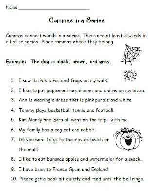 Commas in a series practice 2nd grade