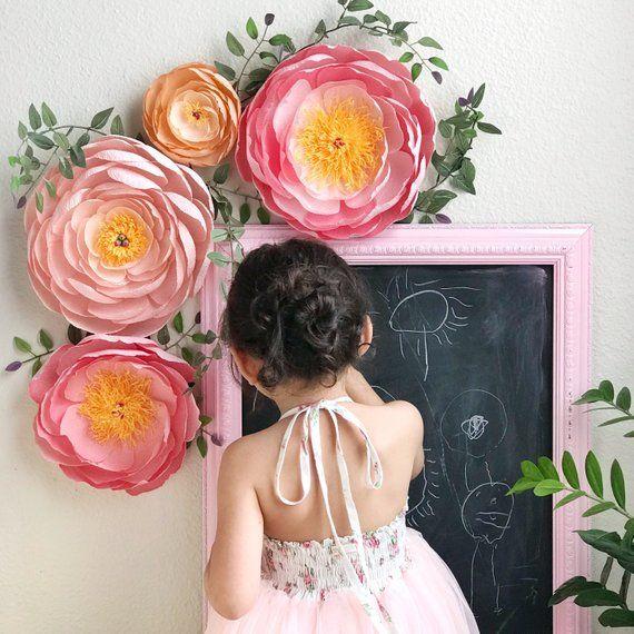 Coral Charm Peonies Crepe Paper Peonies Paper Flowers Nursery Wall
