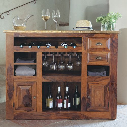 Barm bel aus massivem sheeshamholz b132 interior ideas - Mobili bar per casa ...