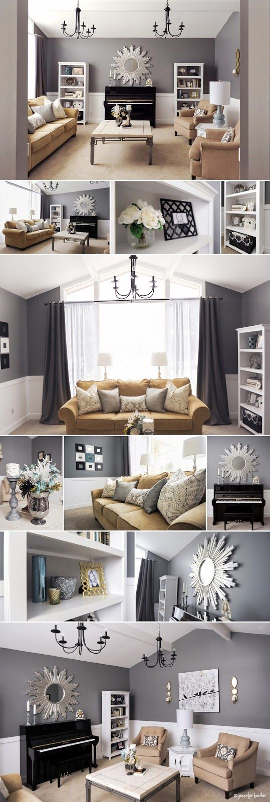 Ballard design gardner village down to earth gray Black white grey and gold living room
