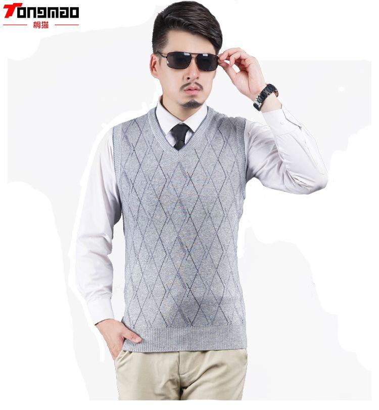 Autumn&Winter Men's V-neck Wool Knitted Sleeveless Vest Striped ...