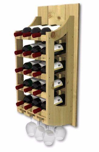 adega de parede de madeira para vinhos 15 garrafas e 6 taças ...