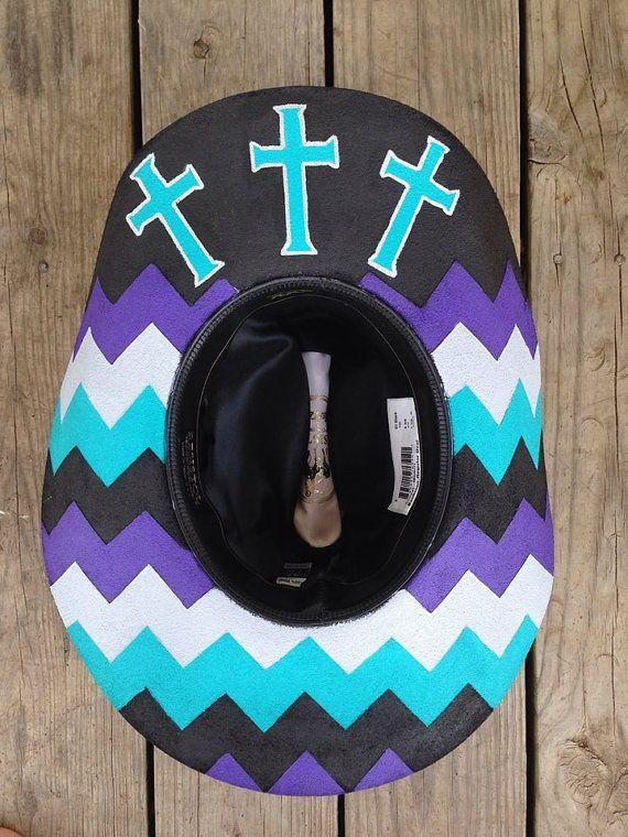 8ad640dd4b9c6 Custom Painted Chevron Hat by RodeoPrideHats on Etsy