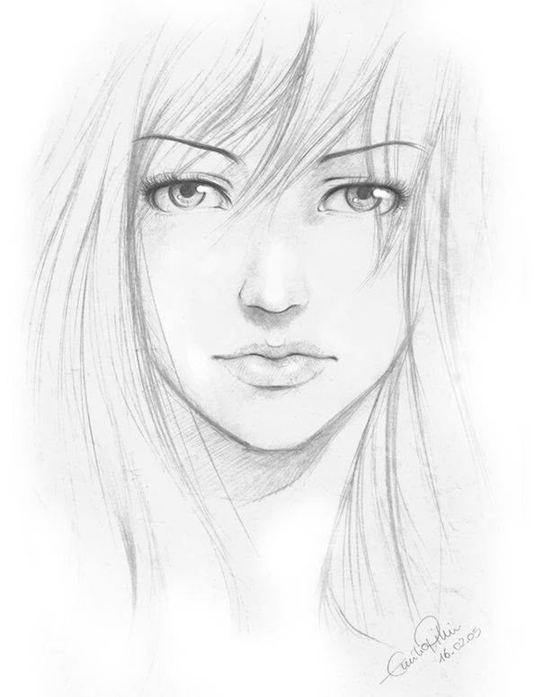 Pencil sketch girl