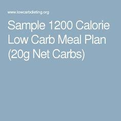Sample 1200 Calorie Low Carb Meal Plan (20g Net Carbs ...