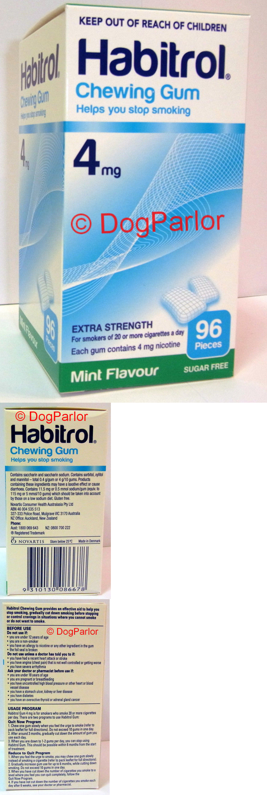 Gum and Lozenges: Habitrol Nicotine Gum 4Mg Mint 6 Boxes 576 Pieces BUY IT NOW ONLY: $122.95
