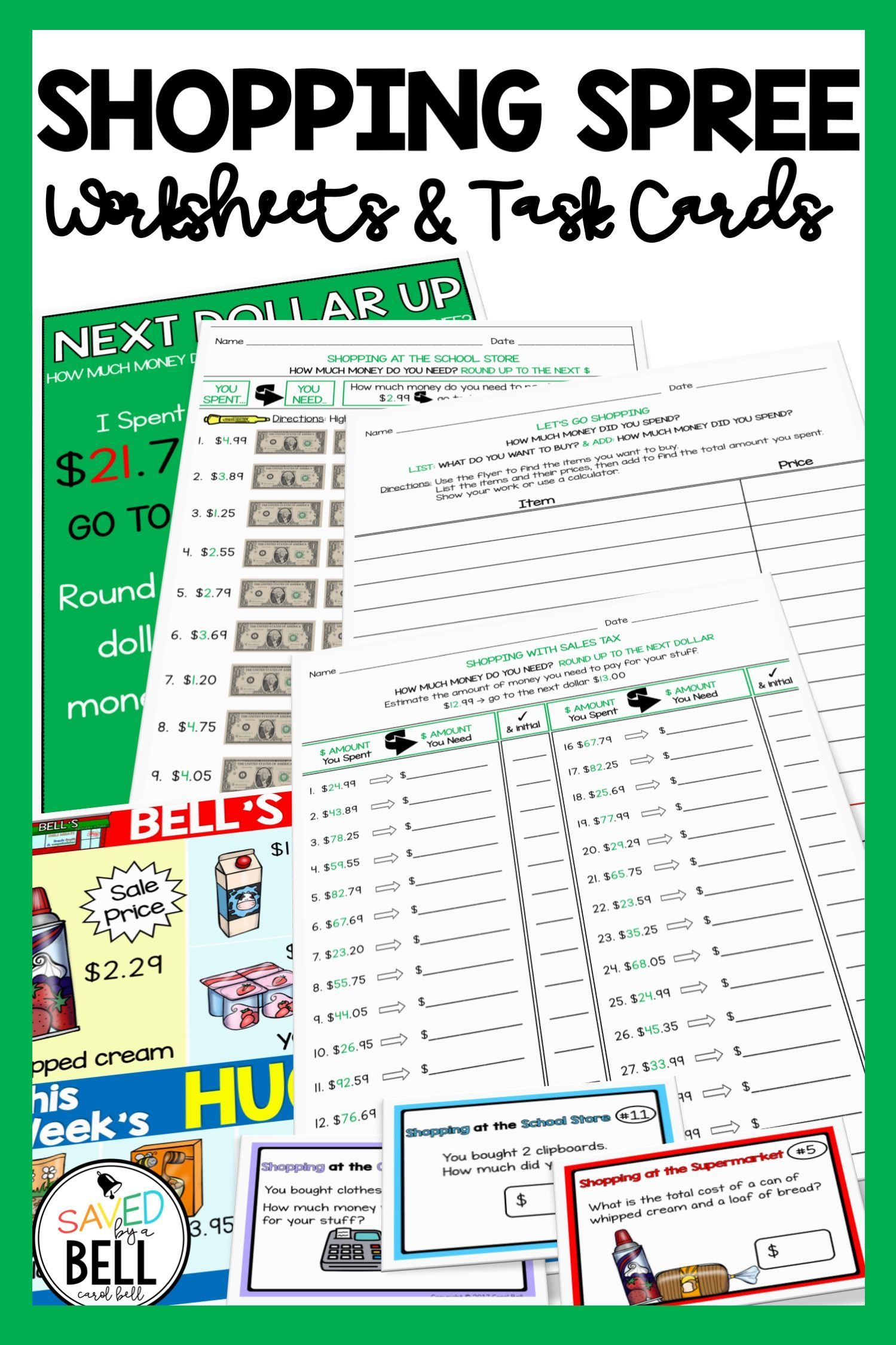 Worksheets Task Cards Add Subtract Dollar Up And Sales Tax Distance Learning Teaching Kids Money Task Cards Money Worksheets