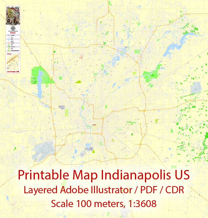 Us Map Indianapolis.Editable Pdf Map Indianapolis Us Exact Vector City Plan Map